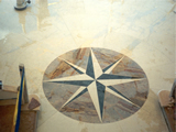 Marquetry compass card in Opera Fantastico, Alpi Green and Botticino
