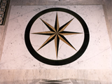 Marquetry Star in Bianco Carrara, Giallo Siena and Absolute Black